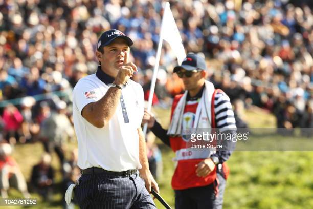 Patrick Reed of the United States reacts on the ninth during the morning fourball matches of the 2018 Ryder Cup at Le Golf National on September 29,...