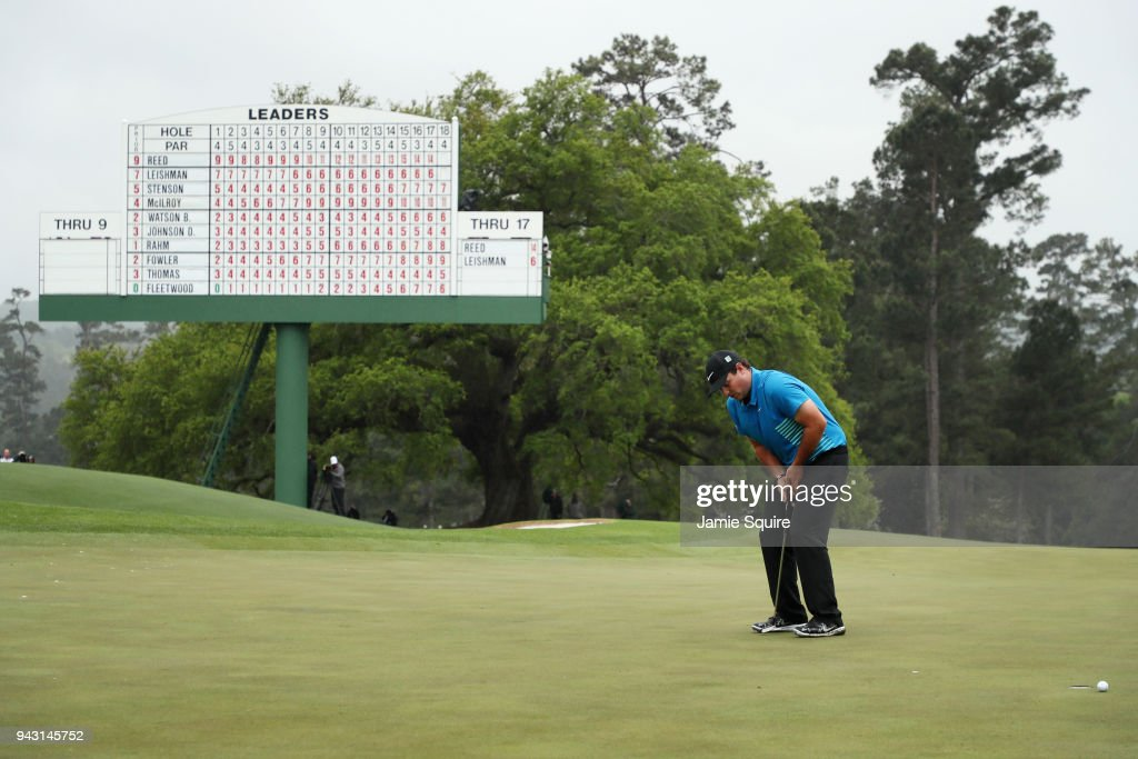 Patrick Reed of the United States reacts to a putt on the 18th green during the third round of the 2018 Masters Tournament at Augusta National Golf Club on April 7, 2018 in Augusta, Georgia.