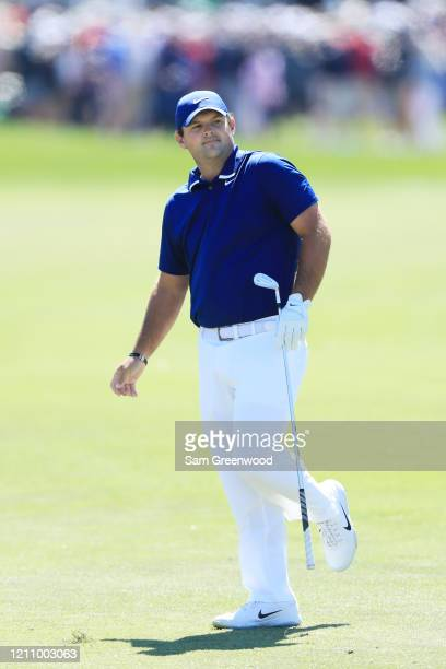Patrick Reed of the United States reacts to a shot on the first hole during the third round of the Arnold Palmer Invitational Presented by MasterCard...