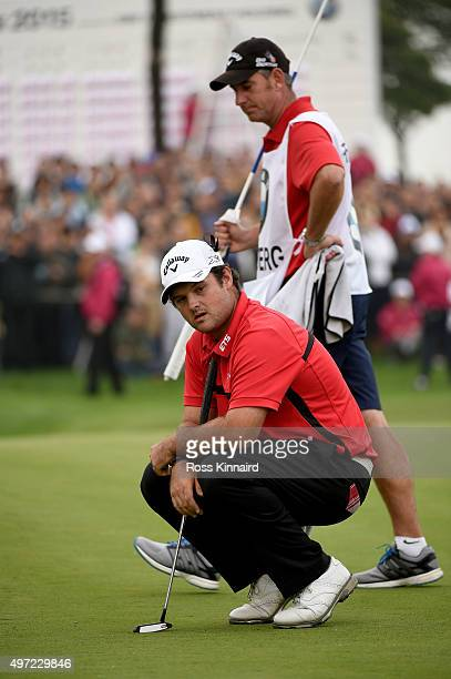 Patrick Reed of the United States reacts to his missed put on 18 green during the final round of the BMW Masters at Lake Malaren Golf Club on...