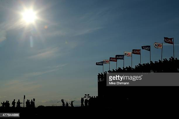 Patrick Reed of the United States tees off on the 18th hole during the third round of the 115th US Open Championship at Chambers Bay on June 20 2015...