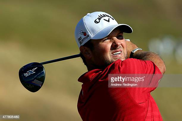 Patrick Reed of the United States watches his tee shot on the tenth hole during the second round of the 115th US Open Championship at Chambers Bay on...