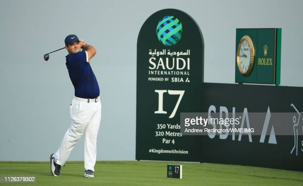 Patrick Reed of the USA hits his teeshot on the 17th hole on Day One of the Saudi International at Royal Greens Golf and Country Club on January 31...