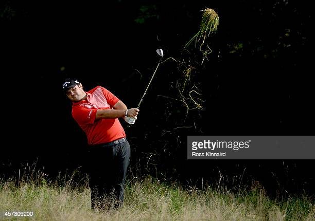 Patrick Reed of the USA in action during the first round matches of the Volvo World Match Play Championship at The London Club on October 16 2014 in...