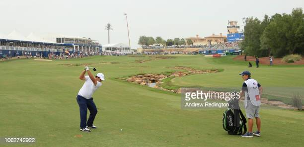Patrick Reed of the USA plays his second shot on the 18th hole during the third round of the DP World Tour Championship at Jumeirah Golf Estates on...