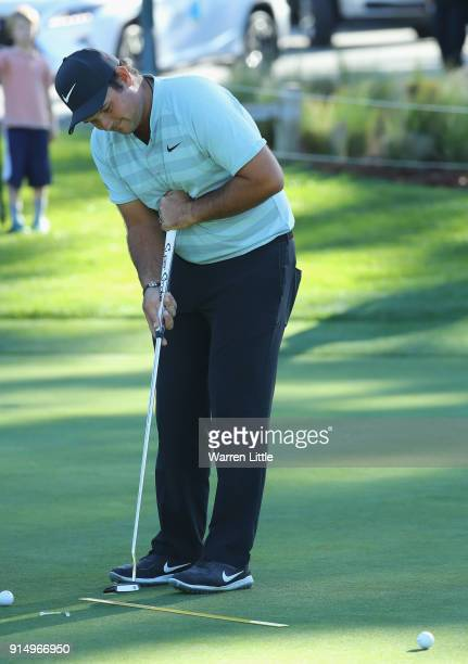Patrick Reed of the USA practices ahead of the ATT Pebble Beach ProAm on February 6 2018 in Pebble Beach California