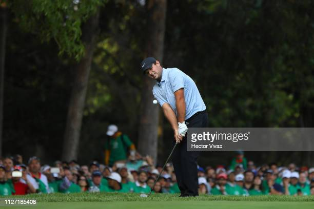 Patrick Reed of United States plays a shot on the 18th hole during the final round of World Golf Championships-Mexico Championship at Club de Golf...
