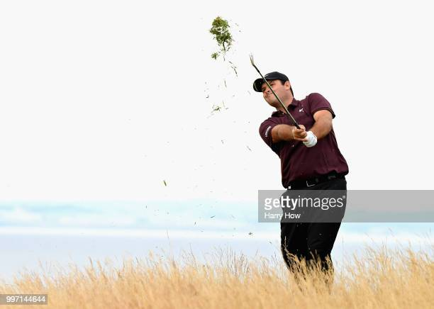 Patrick Reed of USA plays out of the rough on hole fifteen during day one of the Aberdeen Standard Investments Scottish Open at Gullane Golf Course...