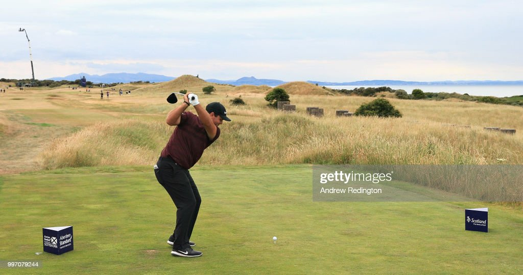 Patrick Reed of USA takes his tee shot on hole eleven during day one of the Aberdeen Standard Investments Scottish Open at Gullane Golf Course on July 12, 2018 in Gullane, Scotland.