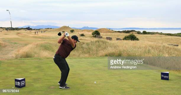 Patrick Reed of USA takes his tee shot on hole eleven during day one of the Aberdeen Standard Investments Scottish Open at Gullane Golf Course on...