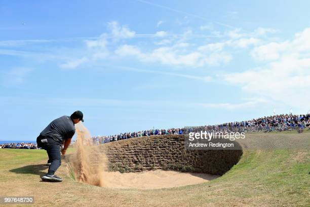 Patrick Reed of USA takes his third shot on hole twelve during day two of the Aberdeen Standard Investments Scottish Open at Gullane Golf Course on...