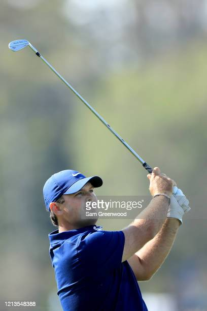Patrick Reed plays a shot on the seventh hole during the first round of The PLAYERS at the TPC Stadium course on March 12 2020 in Ponte Vedra Beach...