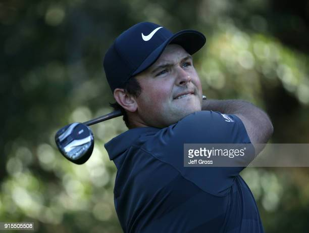 Patrick Reed plays a tee shot on the eighth hole during practice for the ATT Pebble Beach ProAm on February 7 2018 at Spyglass Hill Golf Course in...