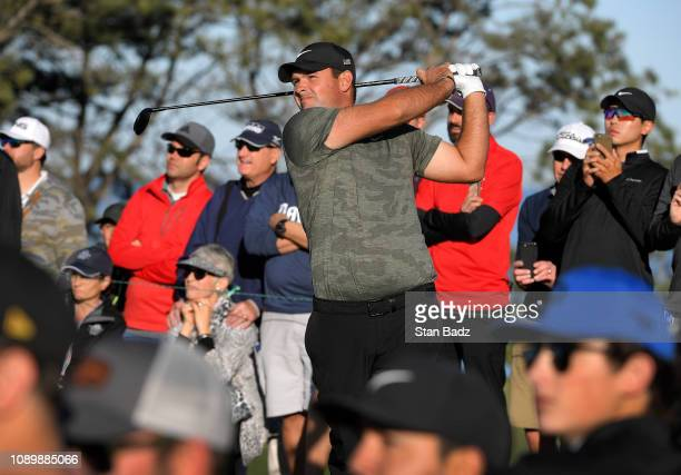 Patrick Reed plays a tee shot on the second hole during the third round of the Farmers Insurance Open at Torrey Pines South on January 26 2019 in San...