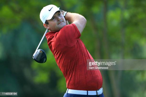 Patrick Reed plays his shot from the 11th tee during the first round of the 2019 Wells Fargo Championship at Quail Hollow Club on May 02 2019 in...