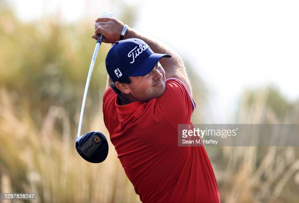 Patrick Reed plays his shot from the 18th tee during the second round of The American Express tournament on the Jack Nicklaus Tournament Course at...