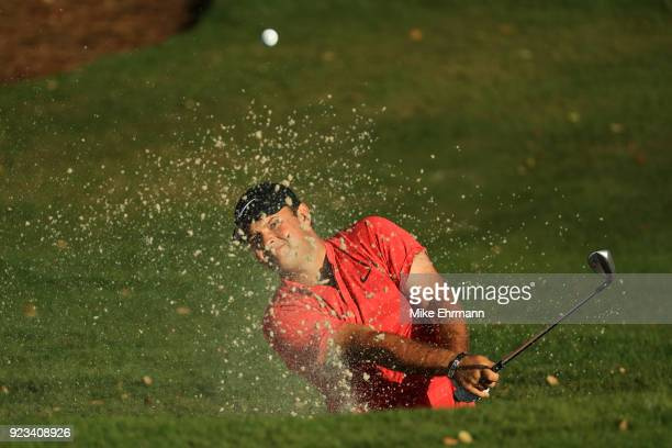 Patrick Reed plays his shot from the bunker on the 12th hole during the second round of the Honda Classic at PGA National Resort and Spa on February...