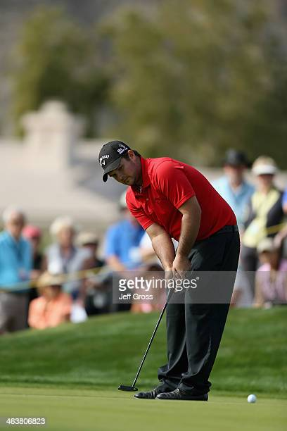 Patrick Reed putts on the fourth hole during the final round of the Humana Challenge in partnership with the Clinton Foundation on the Arnold Palmer...