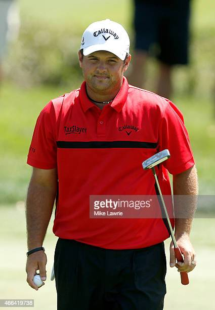 Patrick Reed reacts after a birdie putt on the first green during the final round of the Valspar Championship at Innisbrook Resort Copperhead Course...