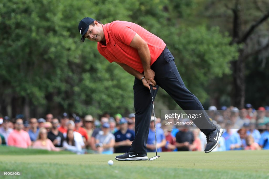 Patrick Reed reacts after a putt on the 13th green during the final round of the Valspar Championship at Innisbrook Resort Copperhead Course on March 11, 2018 in Palm Harbor, Florida.