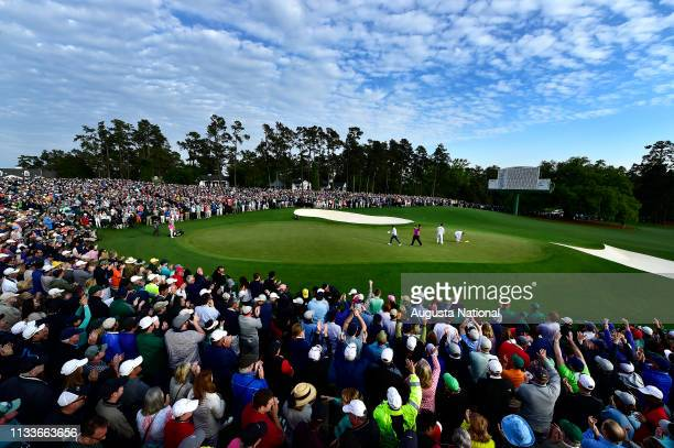 Patrick Reed reacts after winning the Masters Tournament at Augusta National Golf Club Sunday April 8 2018