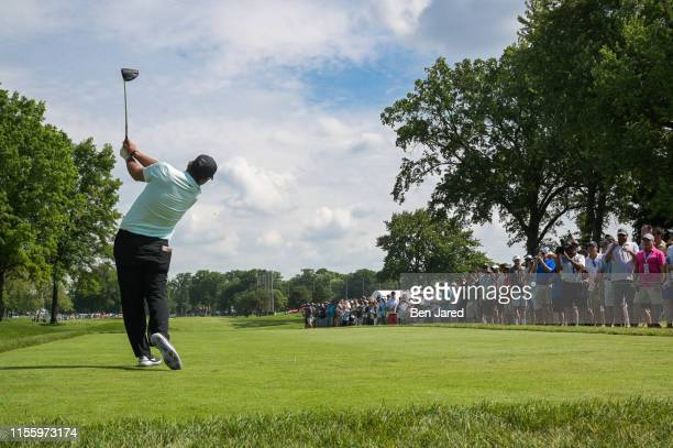 Patrick Reed tees off on the fourth tee box during the second round of the Rocket Mortgage Classic at Detroit Golf Club on June 28, 2019 in Detroit,...
