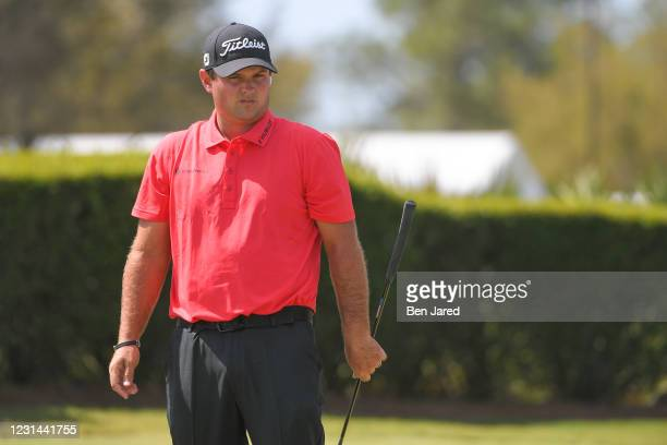 Patrick Reed warms up during the final round of the World Golf Championships-Workday Championship at The Concession on February 28, 2021 in...