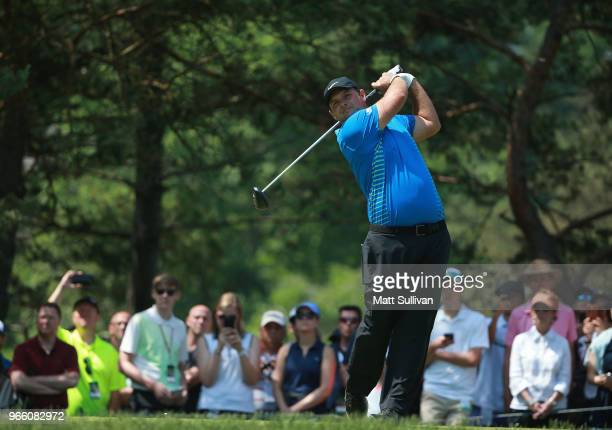Patrick Reed watches his tee shot on the second hole during the third round of The Memorial Tournament Presented by Nationwide at Muirfield Village...