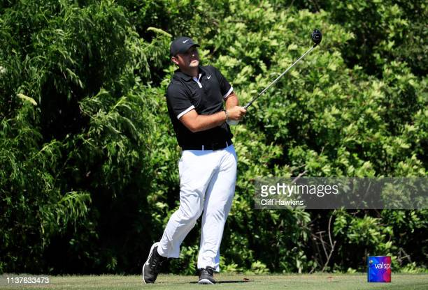 Patrick Reed watches his tee shot on the seventh hole during the second round of the Valspar Championship on the Copperhead course at Innisbrook Golf...