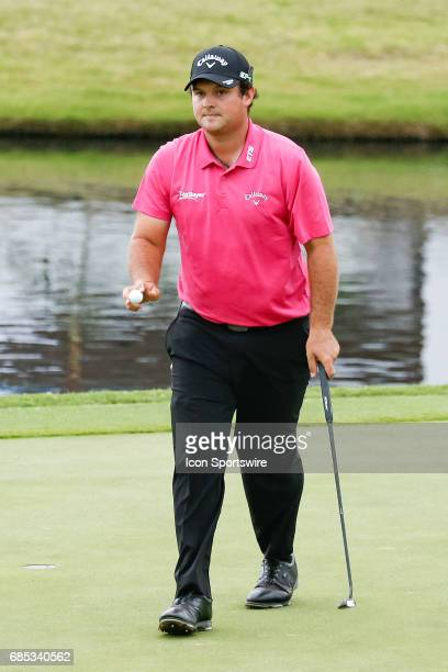 Patrick Reed waves to gallery after making birdie on during the second round of the ATT Byron Nelson on May 19 2017 at the TPC Four Seasons Resort in...