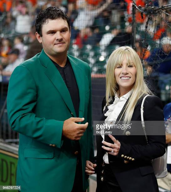 Patrick Reed winner of the 2018 Masters and wife Justine attend the game between Texas Rangers and Houston Astros at Minute Maid Park on April 14...