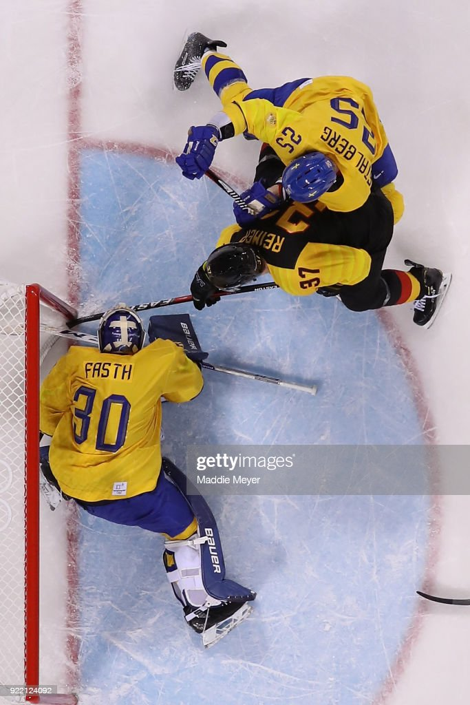Patrick Reimer #37 of Germany scores a goal on Viktor Fasth #30 of Sweden in overtime to win 4-3 during the Men's Play-offs Quarterfinals game on day twelve of the PyeongChang 2018 Winter Olympic Games at Kwandong Hockey Centre on February 21, 2018 in Gangneung, South Korea.