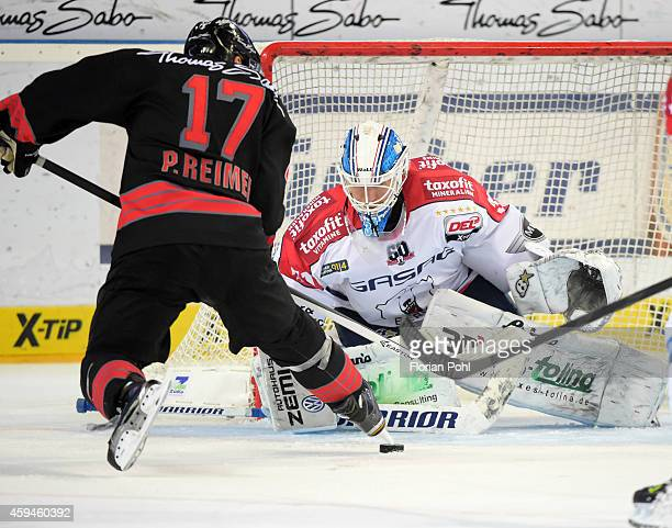 Patrick Reimer of the Thomas Sabo Ice Tigers Nuernberg and Petri Vehanen of the Eisbaeren Berlin duel during the game between Thomas Sabo Ice Tigers...
