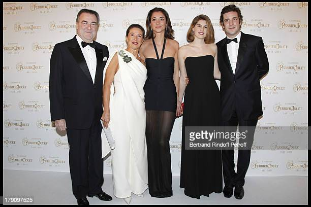 Patrick Ricard with wife Corinne and their children Lorraine and Paul Charles with wife Alice at The Perrier Jouet Bicentenary Celebration At The...