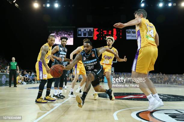 Patrick Richard of the Breakers on the drive during the round eight NBL match between the New Zealand Breakers and the Sydney Kings at Spark Arena on...