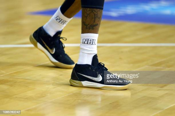 Patrick Richard of the Breakers wears the Nike Kobe AD during the round 10 NBL match between the New Zealand Breakers and the Illawarra Hawks at...