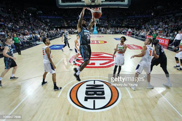 Patrick Richard of the Breakers with a dunk during the round five NBL match between the New Zealand Breakers and the Cairns Taipans at Spark Arena on...