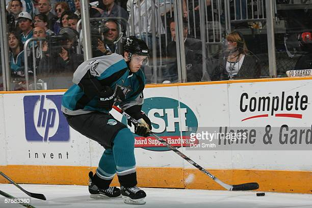 Patrick Rissmiller of the San Jose Sharks skates with the puck during Game 2 of the Western Conference Semifinals against the Edmonton Oilers on May...