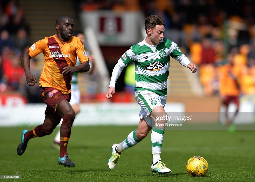 Patrick Roberts of Celtic breaks free of Morgaro Gomis Motherwell in the second half during the Ladbrokes Scottish Premiership match between Celtic FC and Motherwell FC at Fir Park on April 9, 2016 in Glasgow, Scotland.