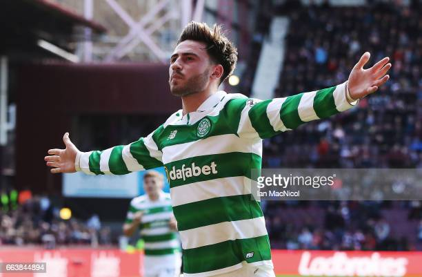 Patrick Roberts of Celtic celebrates after he scores his team's fourth goal during the Ladbrokes Premiership match between Hearts and Celtic at...