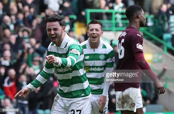 Patrick Roberts of Celtic celebrates scores the third goal during the Ladbrokes Scottish Premiership match between Celtic and Heart of Midlothian at...