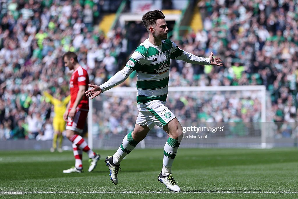 Patrick Roberts of Celtic celebrates scoring his side's first goal during the Ladbroke Scottish Premiership match between Celtic and Aberdeen at Celtic Park on May 8, 2016 in Glasgow, Scotland.