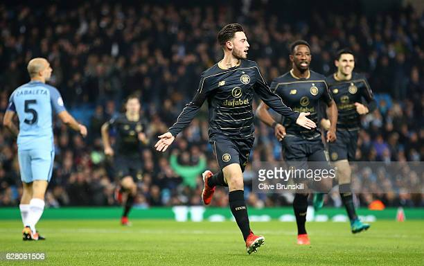 Patrick Roberts of Celtic celebrates scoring his sides first goal during the UEFA Champions League Group C match between Manchester City FC and...