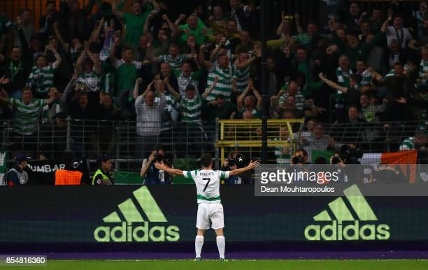 Patrick Roberts of Celtic celebrates scoring his sides second goal during the UEFA Champions League group B match between RSC Anderlecht and Celtic...