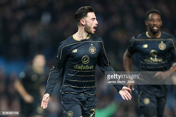Patrick Roberts of Celtic celebrates scoring the first goal to make the score 01 during the UEFA Champions League match between Manchester City FC...