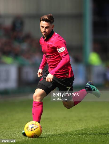Patrick Roberts of Celtic controls the ball during the Ladbrokes Scottish Premiership match between Hibernian and Celtic at Easter Road on April 21...