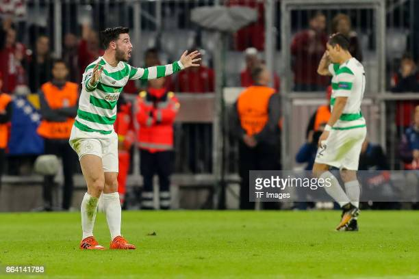 Patrick Roberts of Celtic gestures during the UEFA Champions League group B match between Bayern Muenchen and Celtic FC at Allianz Arena on October...