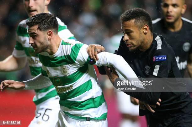 Patrick Roberts of Celtic Glasgow Neymar Jr of PSG during the UEFA Champions League match between Celtic Glasgow and Paris Saint Germain at Celtic...
