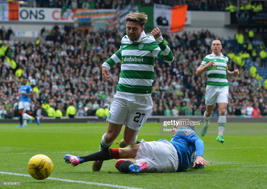 Patrick Roberts of Celtic is brought down by Myles Beerman of Rangers leading to a penalty during the Ladbrokes Scottish Premiership match between Rangers and Celtic at Ibrox Stadium on April 29, 2017 in Glasgow, Scotland.