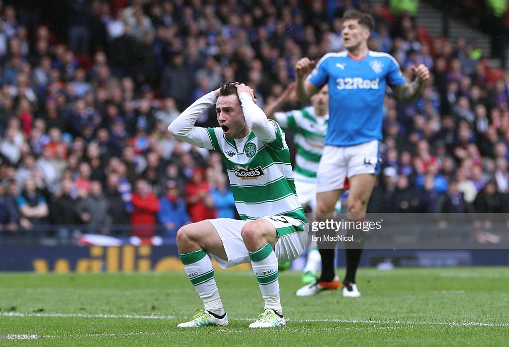 Patrick Roberts of Celtic reacts after missing a chance during the William Hill Scottish Cup semi final between Rangers and Celtic at Hampden Park on April 17, 2016 in Glasgow, Scotland.